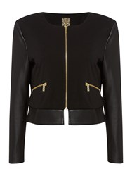 Biba Faux Leather And Stretch Easy Zip Up Jacket Black