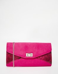Carvela Snake Mix Envelope Clutch Bag Pink