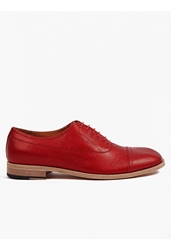Maison Martin Margiela 22 Men's Red Iridescent Leather Oxford Shoes