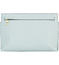 Loewe Medium Logo Embossed Leather T Pouch Aqua