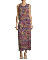 Joan Vass New York Sleeveless Scoop Neck Printed Maxi Dress Patchwork Print