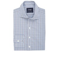 Drakes Plaid Dress Shirt Blue