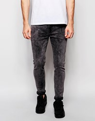 Asos Super Skinny Jeans In Grey Acid Wash Grey