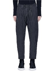 Attachment Stripe Wool Linen Drop Crotch Pants Black