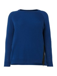 Persona Plus Size Attivo Zip Detail Ribbed Knitted Top Blue