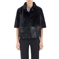 Barneys New York Crop Shearling Jacket Black