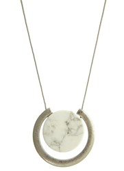 Mint Velvet Silver And Neutral Marble Pendant Necklace Grey