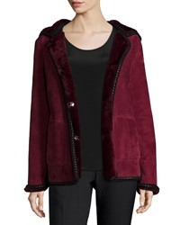 Tory Burch Hooded Shearling Fur Jacket With Crochet Edge Red