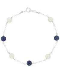 Macy's Lapis Bead 7 1 2 Ct. T.W. And Freshwater Pearl 8Mm Bracelet In Sterling Silver