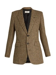 Saint Laurent Single Breasted Wool Tweed Jacket Beige Multi
