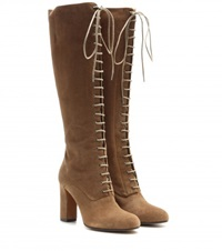 Etro Suede Lace Up Knee Boots Brown
