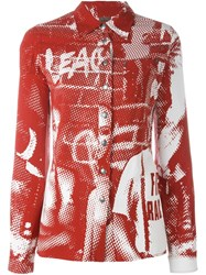 Jean Paul Gaultier Vintage Flower Power And Skinheads Print Shirt Red