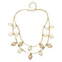 Adele Marie Two Row Faux Pearl And Bead Chain Necklace Gold Multi