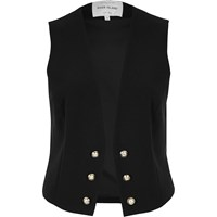 River Island Womens Black Military Waistcoat
