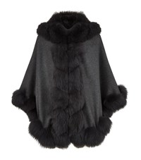 Harrods Of London Spiral Fox Trim Hooded Cashmere Cape Female