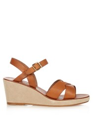 A.P.C. Classical Leather Wedge Sandals Tan