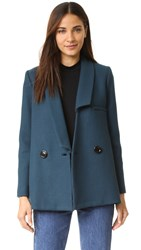 Milly Double Face Wool Katie Peacoat Peacock