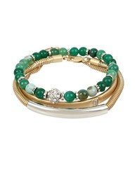 Kenneth Cole Semiprecious Green Bead Bracelets In A Gift Box Set Of 3