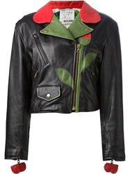 Moschino Vintage 'Flower' Biker Jacket Black
