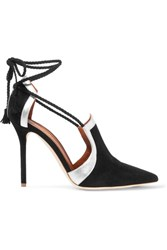 Malone Souliers Haji Metallic Leather Trimmed Suede Pumps Black