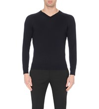 Sandro V Neck Merino Wool Jumper Navy Blue