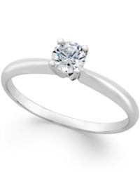Macy's Diamond Engagement Ring 1 3 Ct. T.W. In 18K White Gold No Color