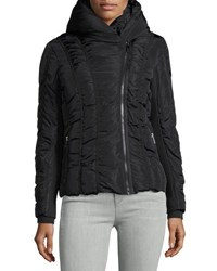 Zac Posen Emily Asymmetric Zip Short Puffer Coat Black
