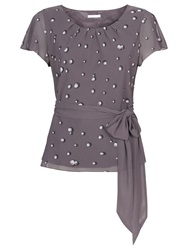 Jacques Vert Pearl Spot Belted Blouse Purple