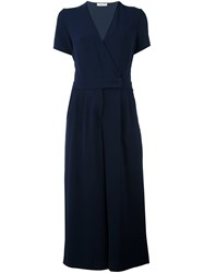 P.A.R.O.S.H. Long Wrapped Front Dress Blue