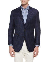 Peter Millar The Napoli Check Two Button Soft Sport Coat Navy