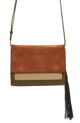 Allsaints 'Belle' Colorblock Leather And Suede Clutch With Tassel
