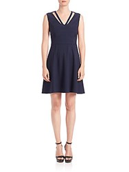 Abs By Allen Schwartz Cutout Fit And Flare Dress Navy
