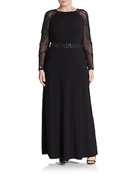 Marina Sizes 14 24 Beaded Sheer Sleeve Gown Black