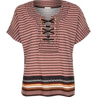 River Island Womens Red Geometric Print Lace Up Front T Shirt
