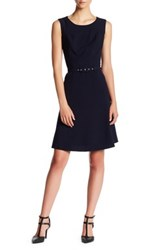 Nine West Topstitched And Belted Sleeveless Dress Blue