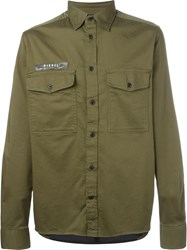Diesel Contrast Panelled Back Shirt Green