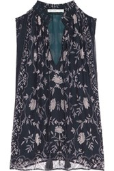 Chelsea Flower Printed Chiffon Blouse Midnight Blue
