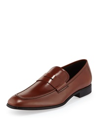 Salvatore Ferragamo Rocco Leather Penny Loafer Brown