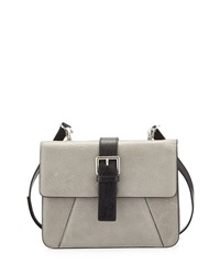 Charles Jourdan Vixen Flap Top Leather Crossbody Bag Light Gray