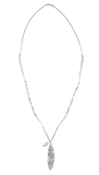 Chan Luu Feather Charm Necklace White Mix