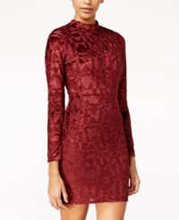 Material Girl Juniors' Flocked Mock Neck Bodycon Dress Only At Macy's Zinfandel