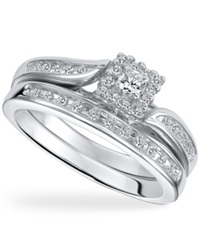 Macy's Diamond Engagement Ring Set In Sterling Silver 1 4 Ct. T.W.