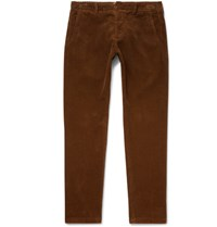Ami Alexandre Mattiussi Slim Fit Cotton Corduroy Trousers Tan