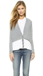 Stateside Shirttail Cardigan Heather Grey White