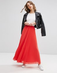 Asos Pleated Maxi Skirt Coral Orange