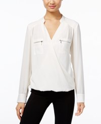 Inc International Concepts Zip Pocket Surplice Blouse Only At Macy's Windsor White