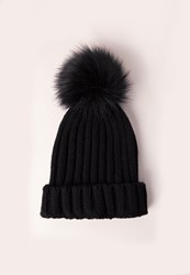 Missguided Faux Fur Pom Pom Beanie Hat Black