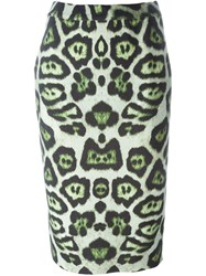 Givenchy Leopard Print Skirt Green
