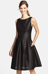 Women's Alfred Sung Dupioni Fit And Flare Dress Black