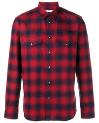 Givenchy Western Tartan Cotton Shirt Red Navy White